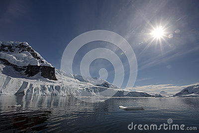 Sunflare in Paradise Bay, Antarctica.
