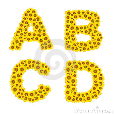 Sunflower alphabet Stock Photo