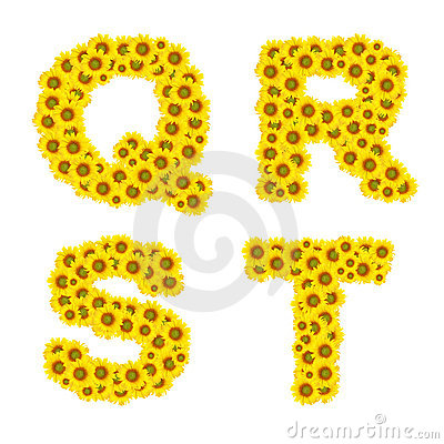 Sunflower alphabet Stock Photo