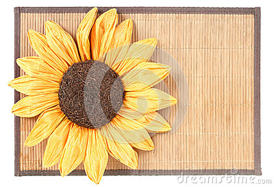 Sunflower decoration on wooden table