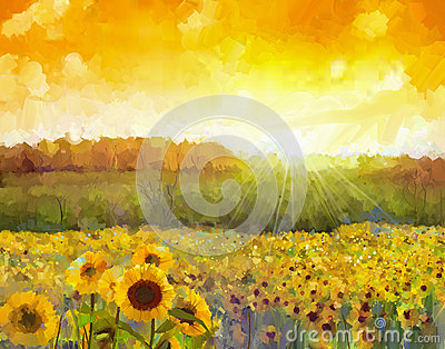 Sunflower flower blossom.Oil painting of a rural sunset landscap