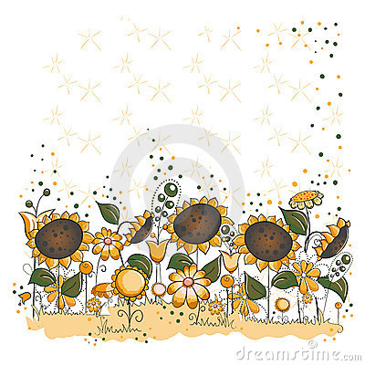 Sunflower garden - Halloween or thanksgiving card