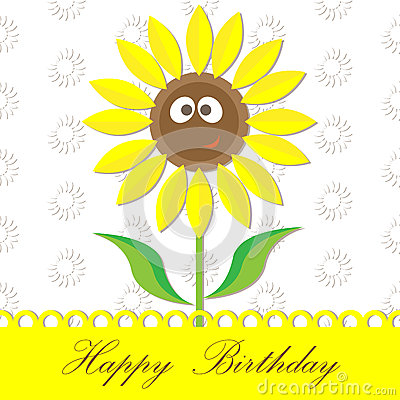 Sunflower happy birthday card