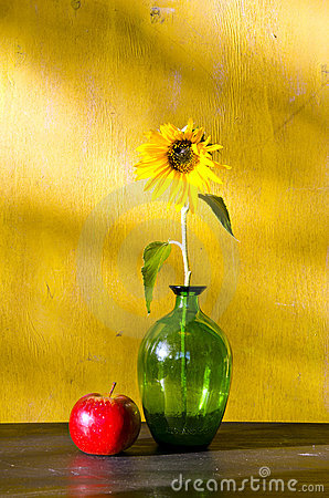 Free Sunflower In Glass Vase And Red Apple Still Life Stock Image - 22980401