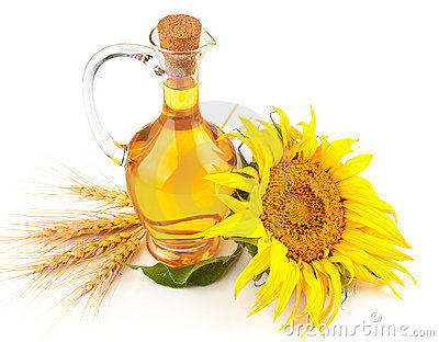 Sunflower oil with flower