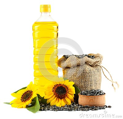 Free Sunflower Oil In Plastic Bottle, Seeds And Flower Isolated On White Background Royalty Free Stock Photography - 101455247