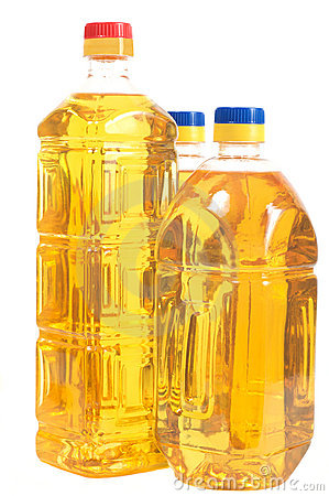 Free Sunflower Oil In The Three Bottles Stock Image - 6084881
