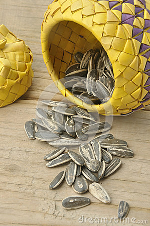 Sunflower seed on wood background