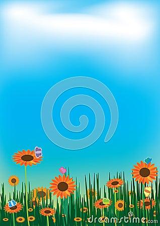 Sunflowers Butterfly Sky Cloud Landscape_eps