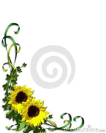 Free Sunflowers Corner Invitation Template Stock Photos - 5264953