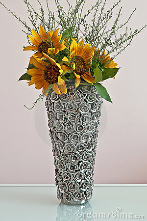 Sunflowers in decorative vase