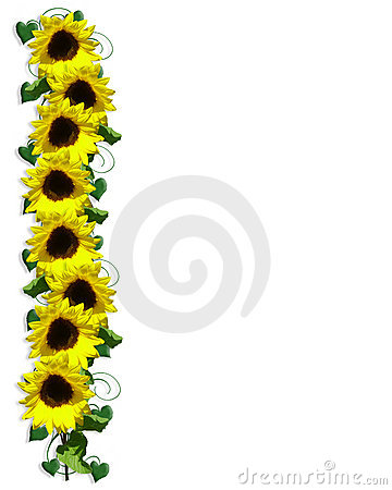 Sunflowers Floral Border Stock Photos - Image: 5003473