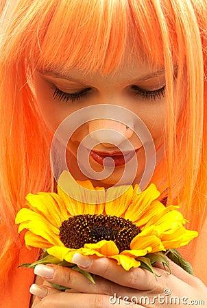 Free Sunfower Girl Royalty Free Stock Photos - 2991498