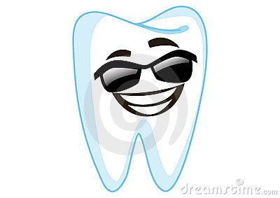 Sunglass Tooth Cartoon Character Illustration