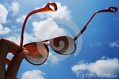 Sunglasses with blue sky
