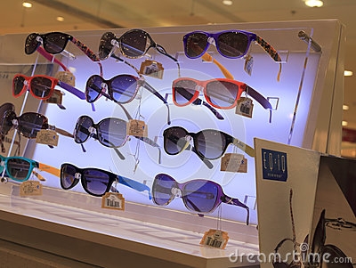 Sunglasses counter Editorial Stock Image