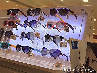 Sunglasses counter Editorial Stock Image
