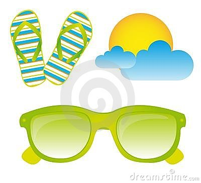 Sunglasses, flip flops, vector