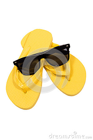 Sunglasses And Flip Flops On White Background Sunglasses And Flip Flops On White Background