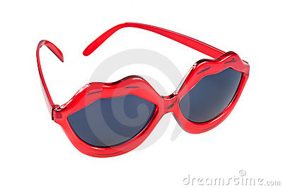 Sunglasses with red lip shaped frame