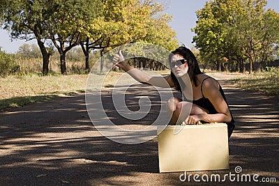 Sunglasses sitting roadside