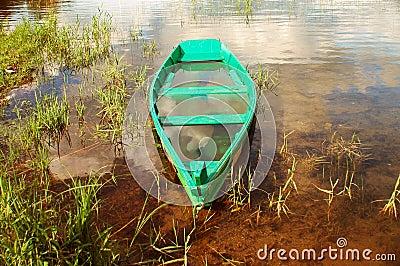The sunk boat.