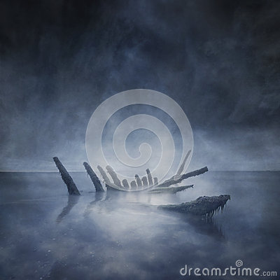 Free Sunken Boat Remains Stock Images - 65942624