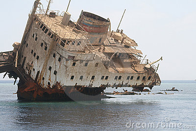 Sunken ship in Red Sea near Tiran Island. Egypt