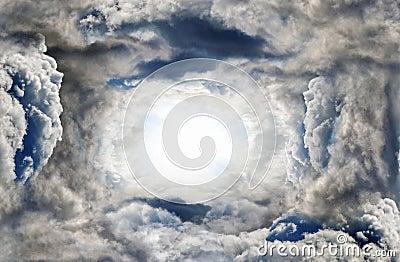 Sunlight in dark thunderstorm clouds