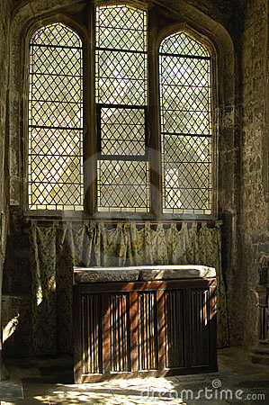 Sunlight on linen fold altar York