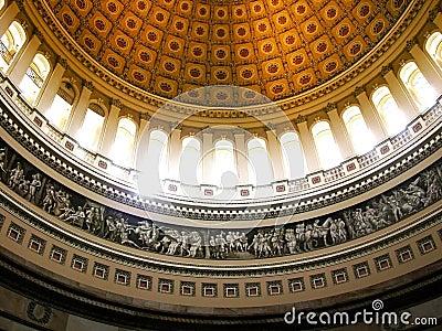 Sunlight streaming inside of US Capitol Rotunda