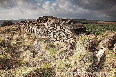 Sunlit dry stone wall