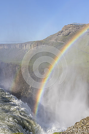Free Sunlit Gullfoss Waterfall In Iceland With A Beautiful Double Rai Royalty Free Stock Photos - 57169278