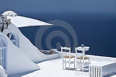 Sunlit terrace.