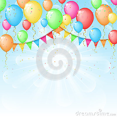 Sunny background with color balloons and flags