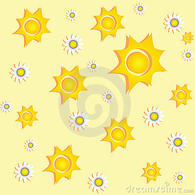 Sunny background with daisies