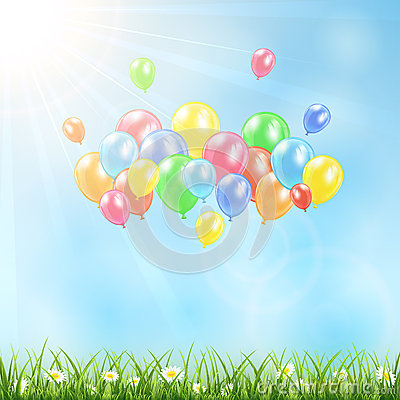 Sunny background with grass and balloons Vector Illustration