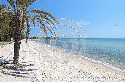 Sunny beach at Chalkidiki in Greece