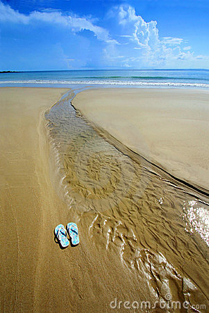 Free Sunny Beach, Flip Flops On Sand Stock Images - 4826994