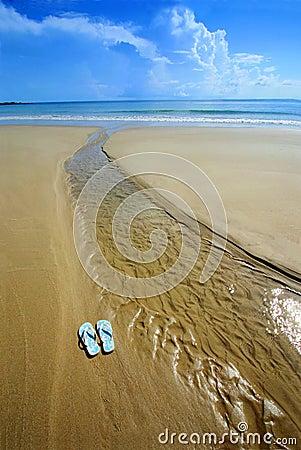 Sunny beach, flip flops on sand