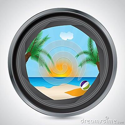 Sunny beach seen through camera lens