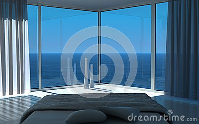 Sunny bedroom interior with seascape view