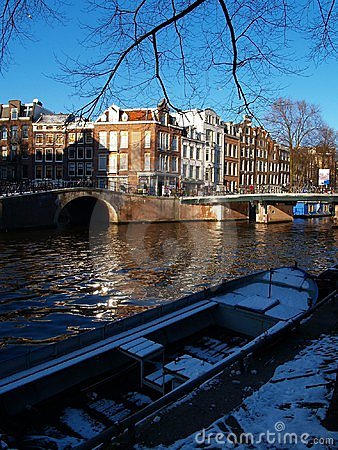 Sunny Day on Canal in Amsterdam