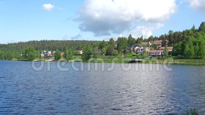 Sunny day on the lake Vanajavesi. The surroundings of the city of Hameenlinna, Finland. Sunny day on the lake Vanajavesi. The surroundings of the city of stock footage