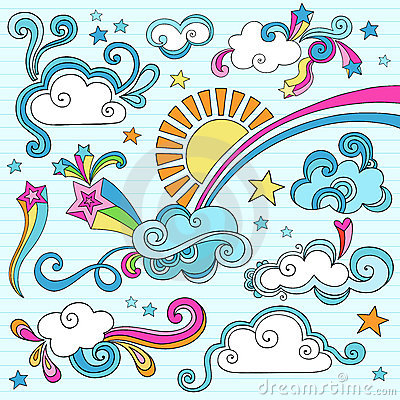 Sunny Day Notebook Doodles Vector Illustration