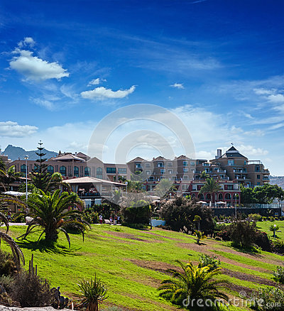 Sunny day in Puerto de la Cruz, Tenerife, Spain. Tourist hotel Resort. Sunset