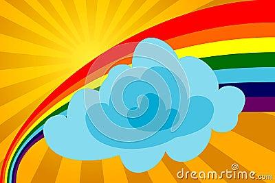 Sunny day with a rainbow