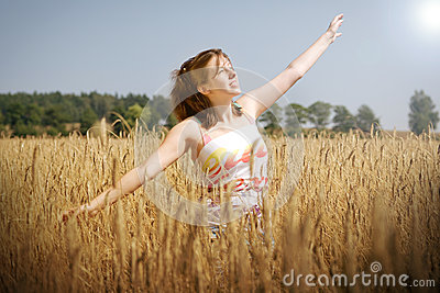 Sunny day on the wheat field