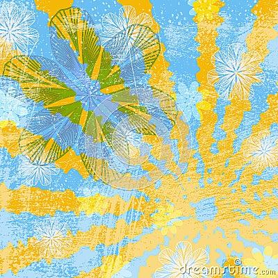 Sunny Floral Grunge Background