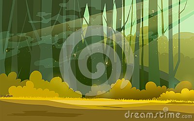 Sunny forest background. Vector illustration of woods in forest in sunlight background. Vector Illustration